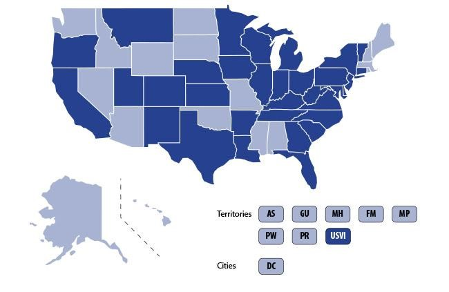 The dark shaded states are the reported cases of the new illness caused by ENDS.