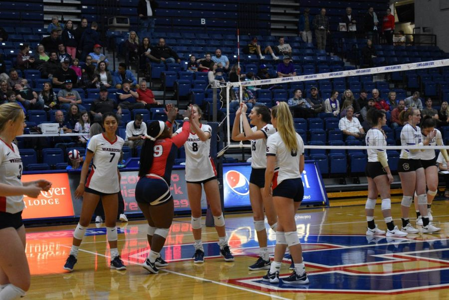 The+Warrior+volleyball+team+swept+Carroll+College+Oct.+4+during+the+homecoming+match%2C+the+final+score+was+3-0.+They+also+dominated+during+the+Oct.+5+match+against+Montana+Tech+winning+3-1+to+punctuate+Homecoming+weekend+with+a+powerful+triumph.