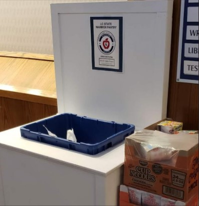 Donation station located in LC State Library.